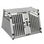 AluRide - двойна транспортна клетка за кучета - размер L: Ш 80 x Д 92 x В 65 см