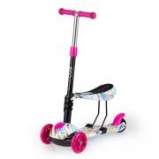 Trotineta pliabila scooter pentru copii, cu 3 roti iluminate LED, scaun detasabil, inaltime reglabila, roz/rosu
