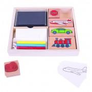 Set creativ tusiera si stampile Vehicule, 4 creioane colorate