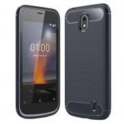 Capa de TPU Escovado para Nokia 1 - Fibra de Carbono - Azul Escuro