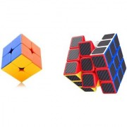 Emob Pack of 2 Stickerless 2x2 Cube and Carbon Fiber Stickers 3x3 Neon Colors High Speed Magic Rubik Cube Puzzle Toy (2