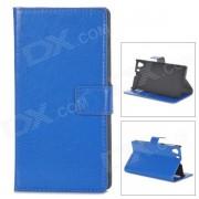 A-336 Elegante Flip-Open PU caso de cuero con soporte para Sony Xperia Z1 L39H - Deep Blue