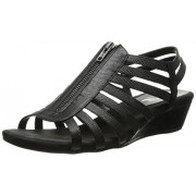 A2 by Aerosoles Women's Yetaway Wedge Sandal,Black Snake,8 W US
