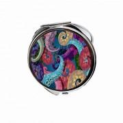 Huayuanhurug Espejo redondo portátil de bolsillo de mano para maquillaje para mujeres y niñas 2,75 pulgadas, Colorido pulpo Kraken