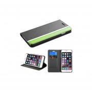 Funda Cartera Apple Iphone 6 Plus Negro Franja Verde
