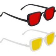 John Dior Rectangular, Rectangular Sunglasses(Red, Yellow)