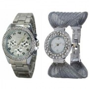 Paidu Silver and Fency Zulla Silver Couple Watches for Men and Women