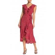 Max Studio Patterned Ruffle Wrap Midi Dress SAMBA RED ALICE FLORAL TWIRL