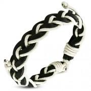 Fekete és krém színű fonott karkötő