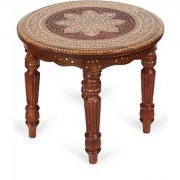 Shilpi Wooden Handcarved Work Round Shaped Side Table