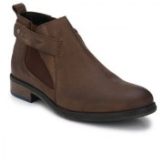 Delize Brown Leather Boots For Men