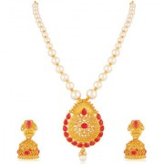 Om Jewells Wedding Collection Gold Plated Traditional Jewellery Set with Kundan stones for Girls and Women NL1000562
