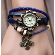 TRUE CHOICE Round Dial Blue Leather Strap Womens Quartz Watch (BLUE DORI )