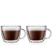 Bodum BISTRO Set 2 tasses à café latte, double paroi, avec anse, 0.45 l Transparent