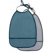MiniMys Lätzchen 2er-Pack, Blau/Grau