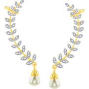 Shostopper Gold Plated American Diamond Leaf Shape Ear Cuffs Earrings For Women Girls