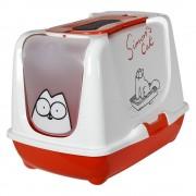 Arenero cubierto Simon's Cat para gatos - Rojo y blanco
