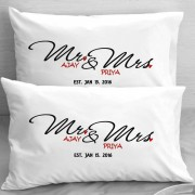 Mr and Mrs Personalized Couple Pillows with Date of Marriage