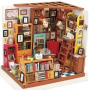 Robotime DIY Doll House The Book Shop Dollhouse Miniature 3D LED Furniture Kit Light Box
