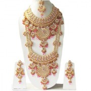 Most Beautiful Crystals Gold Plated Kundan Zerconic Complete Bridal Necklace Jewelry Set