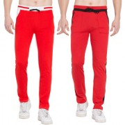 Cliths Stylish Joggers For Men/ Casual Trackpant For Men -Pack Of 2 (Red Black Red White)