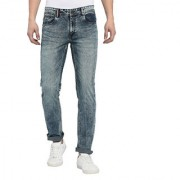 TNG Men's Cotton Solid Stone Wash Stretchable Green Slim Fit Jeans
