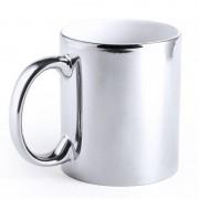 Merkloos Zilveren beker/mok metallic 350 ml