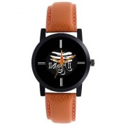 i DIVA'S NEW BROWN STRAP BLACK DIAL SHIVAY TYPE ANLOGE WATCH FOR BOYS 6 MONTH WARRANTY