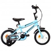 """vidaXL Bicicleta de criança roda 12"""" preto e azul"""