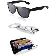 Ediotics Trendy Black Wayfarer Sunglasses & Jaguar Silver Chrome Plated Keychain & Alumi Wallet Combo