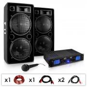 "SET DJ PA ""DJ-26"" amplificatore PA, casse, microfono 2000W"