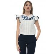 Red Valentino Top in cotone Bianco/blu Cotone Donna