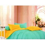 Lenjerie de pat dublu din bumbac satinat de calitate cu 4 piese Turcoaz UNI / Galben UNI