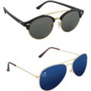 Aventus Round, Aviator Sunglasses(Green, Blue)