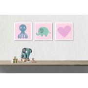 Tablou canvas 3 piese - Animale dragalase pentru fetite