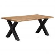 HomingXL Boomstamtafel massief Acacia X-poot zwart gepoedercoat staal 200 x 100 cm