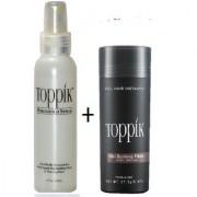 Topp-ikk Hair Building Fibers 27.5gm Dark Brown Color And Toppik Fiber Hold Spray 118ml