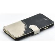 Husa Flip Tellur iPhone 6S Piele Negru-Alb