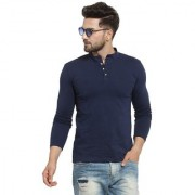 PAUSE Blue Solid Round Neck Slim Fit Full Sleeve Men's Henley T-Shirt