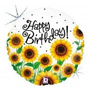 Merkloos Folie ballon Happy Birthday zonnebloemen 46 cm