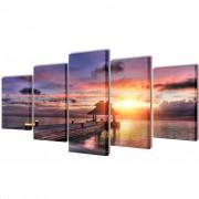 vidaXL Декоративни панели за стена Беседка на плажа, 200 x 100 см