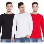 Cliths Full Sleeves Tshirts for Men Black White & Red Cotton Round Neck Tshirts -Pack of 3