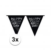 Geen Fun vlaggenlijn Happy Fucking Birthday 3 stuks