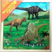 3 Wooden Jigsaw Puzzles (49Pcs Per Puzzle) in a Wooden Box for Kids - Ages 3+ Years (DINOSAUR)