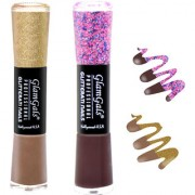 GlamGals combo of 2 Glossy Finish Glitterati Nail Polish(Nude Wine)