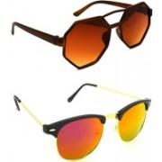 Hrinkar Round Sunglasses(Brown, Pink)