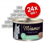 Miamor крехки филета 24 x 100 г - бонус опаковка - риба тон и яйца от пъдпъдък