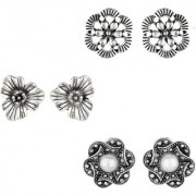 GoldNera Cute Light Weight Stud Earrings Set German Silver Flower Italian Designs White Metal Stud Earring For Girls