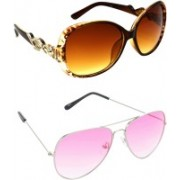 Hrinkar Over-sized Sunglasses(Brown, Pink)