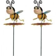 Wonderland (SET of 2) Plastic animated Bee on Sunflower Garden Stake(10 x 13 x 66 cm)